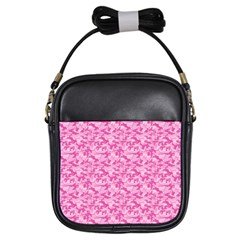 Shocking Pink Camouflage Pattern Girls Sling Bags