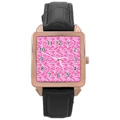 Shocking Pink Camouflage Pattern Rose Gold Leather Watch