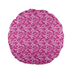 Shocking Pink Camouflage Pattern Standard 15  Premium Flano Round Cushions