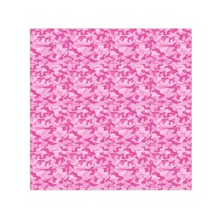 Shocking Pink Camouflage Pattern Small Satin Scarf (square)