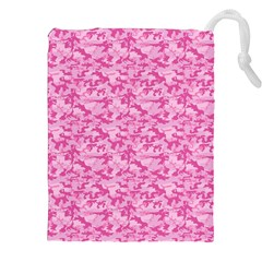 Shocking Pink Camouflage Pattern Drawstring Pouches (xxl)