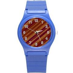 Stripes Course Texture Background Round Plastic Sport Watch (s)