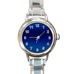 Blue Dot Round Italian Charm Watch by PhotoNOLA