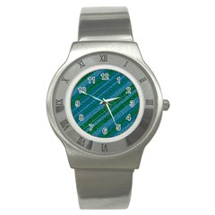 Stripes Course Texture Background Stainless Steel Watch