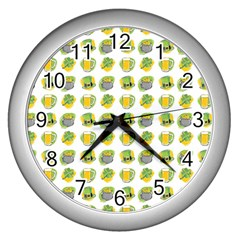 St Patrick S Day Background Symbols Wall Clocks (silver)