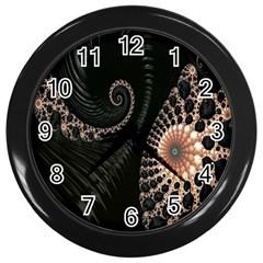 Fractal Black Pearl Abstract Art Wall Clocks (black) by Nexatart