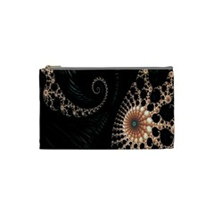 Fractal Black Pearl Abstract Art Cosmetic Bag (small)  by Nexatart