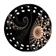 Fractal Black Pearl Abstract Art Ornament (round Filigree) by Nexatart
