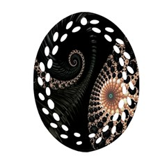 Fractal Black Pearl Abstract Art Oval Filigree Ornament (two Sides) by Nexatart