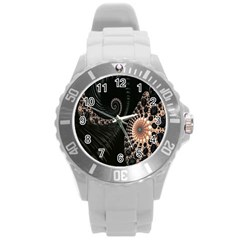 Fractal Black Pearl Abstract Art Round Plastic Sport Watch (l) by Nexatart
