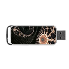 Fractal Black Pearl Abstract Art Portable Usb Flash (two Sides) by Nexatart