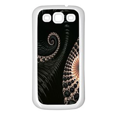 Fractal Black Pearl Abstract Art Samsung Galaxy S3 Back Case (white)