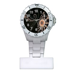 Fractal Black Pearl Abstract Art Plastic Nurses Watch