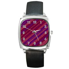 Stripes Course Texture Background Square Metal Watch