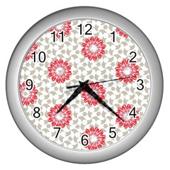 Stamping Pattern Fashion Background Wall Clocks (silver)  by Nexatart