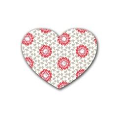 Stamping Pattern Fashion Background Rubber Coaster (heart)  by Nexatart
