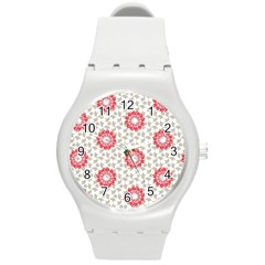 Stamping Pattern Fashion Background Round Plastic Sport Watch (m) by Nexatart