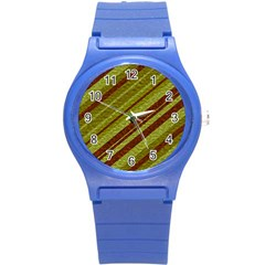 Stripes Course Texture Background Round Plastic Sport Watch (s) by Nexatart