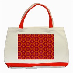 Pattern Abstract Floral Bright Classic Tote Bag (red) by Nexatart