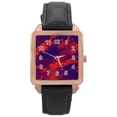 Sky Pattern Rose Gold Leather Watch  by Valentinaart