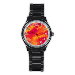 Sky Pattern Stainless Steel Round Watch by Valentinaart