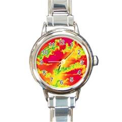 Sky Pattern Round Italian Charm Watch by Valentinaart