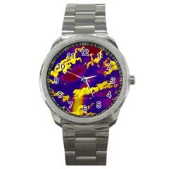 Sky Pattern Sport Metal Watch by Valentinaart