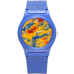 Sky Pattern Round Plastic Sport Watch (s) by Valentinaart