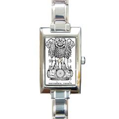 National Emblem Of India  Rectangle Italian Charm Watch by abbeyz71