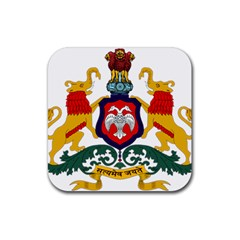 State Seal Of Karnataka Rubber Square Coaster (4 Pack)  by abbeyz71