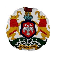 State Seal Of Karnataka Standard 15  Premium Round Cushions by abbeyz71