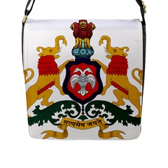 State Seal Of Karnataka Flap Messenger Bag (l)  by abbeyz71