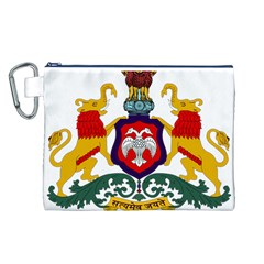 State Seal Of Karnataka Canvas Cosmetic Bag (l) by abbeyz71