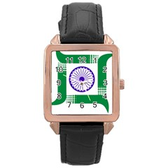 Seal Of Indian State Of Jharkhand Rose Gold Leather Watch  by abbeyz71
