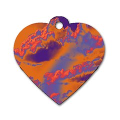 Sky Pattern Dog Tag Heart (two Sides) by Valentinaart