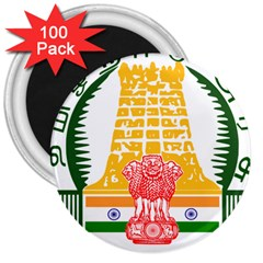 Seal Of Indian State Of Tamil Nadu  3  Magnets (100 Pack) by abbeyz71