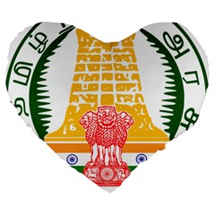 Seal Of Indian State Of Tamil Nadu  Large 19  Premium Heart Shape Cushions by abbeyz71