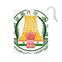 Seal Of Indian State Of Tamil Nadu  Drawstring Pouches (large)  by abbeyz71