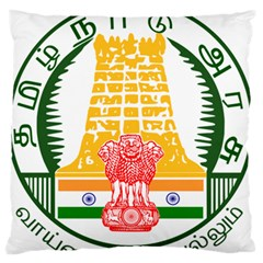 Seal Of Indian State Of Tamil Nadu  Large Flano Cushion Case (two Sides) by abbeyz71