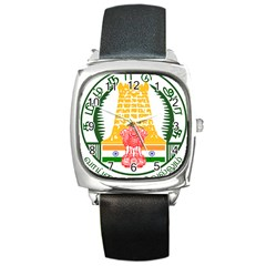 Seal Of Indian State Of Tamil Nadu  Square Metal Watch by abbeyz71