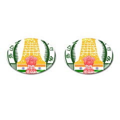Seal Of Indian State Of Tamil Nadu  Cufflinks (oval) by abbeyz71