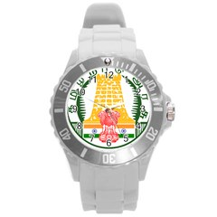 Seal Of Indian State Of Tamil Nadu  Round Plastic Sport Watch (l) by abbeyz71