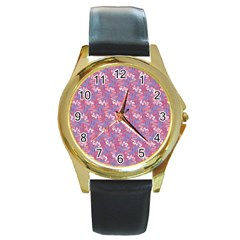 Pattern Abstract Squiggles Gliftex Round Gold Metal Watch by Nexatart