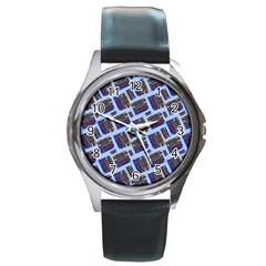 Abstract Pattern Seamless Artwork Round Metal Watch by Nexatart