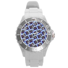 Abstract Pattern Seamless Artwork Round Plastic Sport Watch (l)