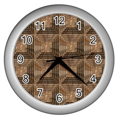 Collage Stone Wall Texture Wall Clocks (silver)  by Nexatart