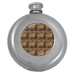 Collage Stone Wall Texture Round Hip Flask (5 Oz) by Nexatart
