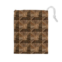 Collage Stone Wall Texture Drawstring Pouches (large)