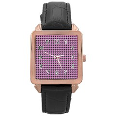Pattern Grid Background Rose Gold Leather Watch  by Nexatart