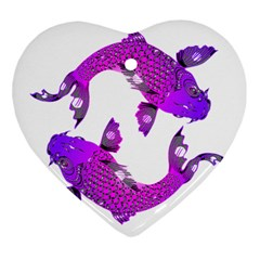 Koi Carp Fish Water Japanese Pond Heart Ornament (two Sides) by Nexatart